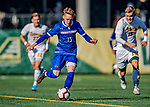26 October 2019: University of Massachusetts Lowell River Hawk Midfielder Alec Becker, a Sophomore from Freiburg im Breisgau, Germany, in first half action against the University of Vermont Catamounts at Virtue Field in Burlington, Vermont. The Catamounts rallied to defeat the River Hawks 2-1, propelling the Cats to the America East Division 1 conference playoffs. Mandatory Credit: Ed Wolfstein Photo *** RAW (NEF) Image File Available ***