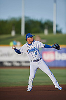 Humberto Arteaga (13) of the Omaha Storm Chasers during the game against the Round Rock Express at Werner Park on May 27, 2018 in Papillion , Nebraska. Round Rock defeated Omaha 8-3. (Stephen Smith/Four Seam Images)