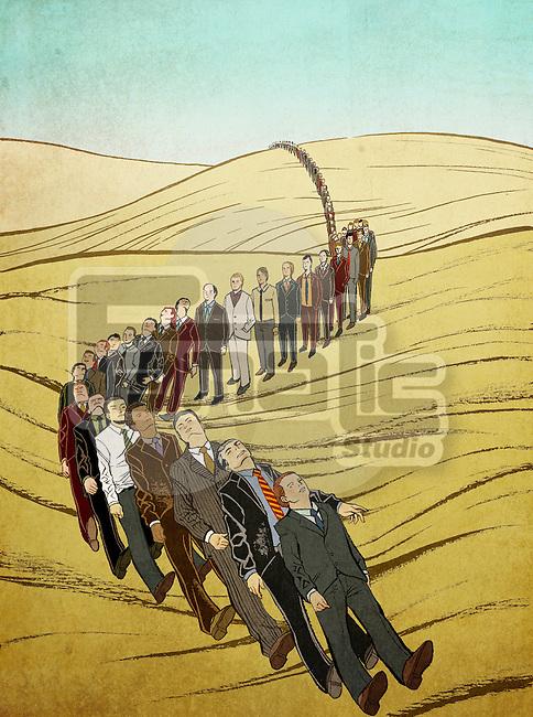 Illustration shot of men in line falling down like dominos