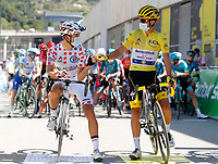 31st August 2020, Nice to Sisteron, France; Tour de France cycling tour, stage 3;   COSNEFROY Benoit (FRA) of AG2R LA MONDIALE, ALAPHILIPPE Julian (FRA) of DECEUNINCK - QUICK - STEP