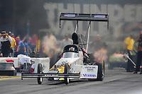 Jun. 19, 2011; Bristol, TN, USA: NHRA top fuel dragster driver Chris Karamesines during eliminations at the Thunder Valley Nationals at Bristol Dragway. In the round Karamesines won his first round since 1990. Mandatory Credit: Mark J. Rebilas-