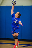 27 October 2013: Yeshiva University Maccabee Outside Hitter Marjorie Rasinovsky, a Freshman from Sao Paulo, Brazil, in action during a Skyline Conference game against the Purchase College Panthers at the College of Mount Saint Vincent in Riverdale, NY. The Panthers defeated the Maccabees 3-0 in NCAA women's volleyball play. Mandatory Credit: Ed Wolfstein Photo *** RAW (NEF) Image File Available ***
