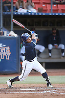 Bryson Brigman (8) of the University of San Diego Toreros bats against the Cal State Fullerton Titans at Goodwin Field on April 5, 2016 in Fullerton, California. Cal State Fullerton defeated University of San Diego, 4-2. (Larry Goren/Four Seam Images)