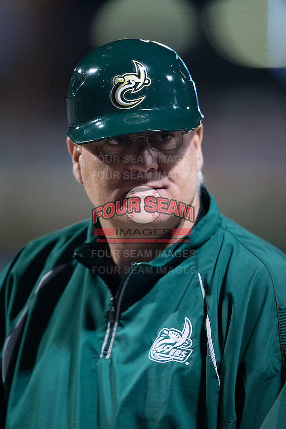 Charlotte 49ers head coach Loren Hibbs (49) during the game against the North Carolina State Wolfpack at BB&T Ballpark on March 31, 2015 in Charlotte, North Carolina.  The Wolfpack defeated the 49ers 10-6.  (Brian Westerholt/Four Seam Images)