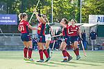 Mannheim, Germany, October 18: During the 1. Bundesliga women fieldhockey match between Mannheimer HC (red) and Uhlenhorst Muelheim (green) on October 18, 2020 at Am Neckarkanal in Mannheim, Germany. Final score 1-0 (HT 0-0). (Copyright Dirk Markgraf / www.265-images.com) *** Stine Kurz #27 of Mannheimer HC