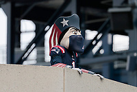 27th September 2020, Foxborough, New England, USA;  Pat Patriot wears his mask and is socially distanced during the game between the New England Patriots and the Las Vegas Raiders