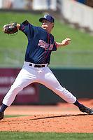 Cedar Rapids Kernels pitcher David Hurlbut #45 pitches during a game against the Lansing Lugnuts at Veterans Memorial Stadium on April 30, 2013 in Cedar Rapids, Iowa. (Brace Hemmelgarn/Four Seam Images)
