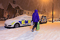 04/02/12...Snow go for the police in Ashbourne...Heavy snowfall brings Ashbourne, Derbyshire to a standstill...All Rights Reserved - F Stop Press  - T: +44 (0)1335 300098..Local copyright law applies to all print & online usage. Fees charged will comply with standard space rates and usage for that country, region or state.