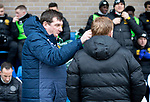 St Johnstone v Celtic…..01.03.20   McDiarmid Park   Scottish Cup Quarter Final<br />Saints manager Tommy Wright greets Neil Lennon<br />Picture by Graeme Hart.<br />Copyright Perthshire Picture Agency<br />Tel: 01738 623350  Mobile: 07990 594431