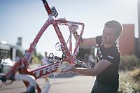 Trek-Segafredo mechanic Jeroen Heymans cleaning the bikes after the stage<br /> <br /> 100th Giro d'Italia 2017