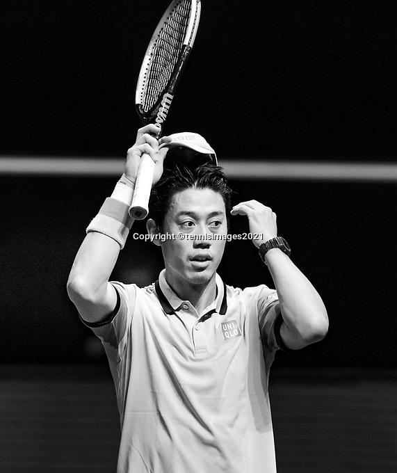Rotterdam, The Netherlands, 3 march  2021, ABNAMRO World Tennis Tournament, Ahoy, First round singles:  Kei Nishikori (JPN).<br /> Photo: www.tennisimages.com/henkkoster