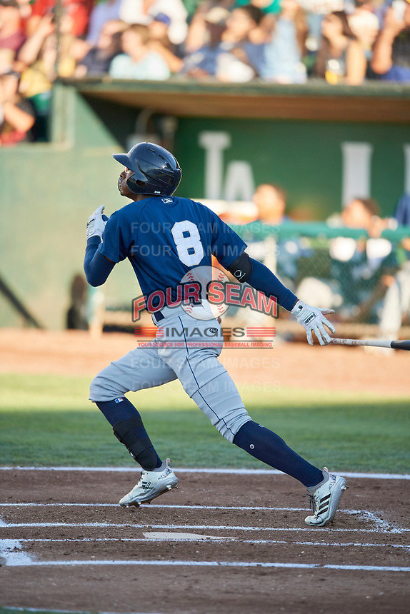 Je'Von Ward (8) of the Helena Brewers bats against the Ogden Raptors at Lindquist Field on July 14, 2018 in Ogden, Utah. Ogden defeated Helena 8-6. (Stephen Smith/Four Seam Images)