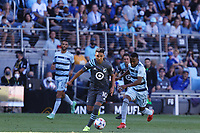 ST. PAUL, MN - AUGUST 21: Emanuel Reynoso #10 of Minnesota United FC during a game between Sporting Kansas City and Minnesota United FC at Allianz Field on August 21, 2021 in St. Paul, Minnesota.