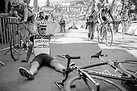 Tony Martin (DEU/Ettix-Quickstep) put in a very strong climb up the infamous steep Mur de Huy and collapses immediately after the finish line<br /> <br /> stage 3: Antwerpen (BEL) - Huy (BEL)<br /> 2015 Tour de France