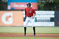 Craig Dedelow (14) of the Kannapolis Intimidators takes his lead off of second base against the Greensboro Grasshoppers at Kannapolis Intimidators Stadium on August 5, 2018 in Kannapolis, North Carolina. The Grasshoppers defeated the Intimidators 2-1 in game one of a double-header.  (Brian Westerholt/Four Seam Images)