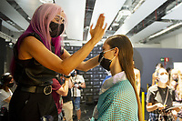 Backstage before the Custo Barcelona's show during the MBFW Madrid (Mercedes Benz Fashion Week Madrid) Spring/Summer at Ifema in Madrid on September 12, 2020 . **FOR USA ONLY** Credit: Action Press/MediaPunch