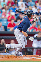 Matt Duffy (4) of the Oklahoma City RedHawks follows through on his swing against the Nashville Sounds at Greer Stadium on July 25, 2014 in Nashville, Tennessee.  The Sounds defeated the RedHawks 2-0.  (Brian Westerholt/Four Seam Images)