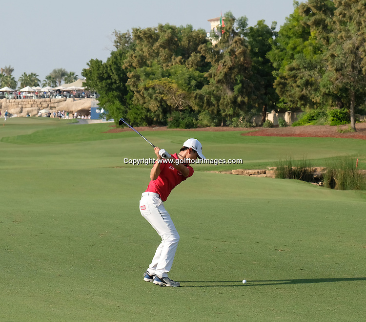 Haotong Li (CHN) during round one of the 2016 DP World Tour Championships played over the Earth Course at Jumeirah Golf Estates, Dubai, UAE: Picture Stuart Adams, www.golftourimages.com: 11/17/16