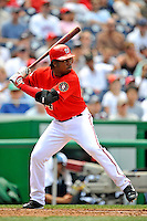 17 August 2008: Washington Nationals' outfielder Lastings Milledge in action against the Colorado Rockies at Nationals Park in Washington, DC. The Rockies defeated the Nationals 7-2, sweeping the 3-game series, and handing the last place Nationals their 10th consecutive loss. ..Mandatory Photo Credit: Ed Wolfstein Photo