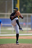 Pittsburgh Pirates relief pitcher Braham Rosario (2) delivers a pitch during a Florida Instructional League game against the Toronto Blue Jays on September 20, 2018 at the Englebert Complex in Dunedin, Florida.  (Mike Janes/Four Seam Images)