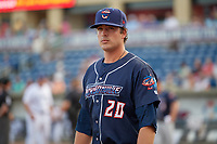 Jacksonville Jumbo Shrimp pitcher Ryan Newell (20) before a game against the Pensacola Blue Wahoos on August 15, 2018 at Blue Wahoos Stadium in Pensacola, Florida.  Jacksonville defeated Pensacola 9-2.  (Mike Janes/Four Seam Images)