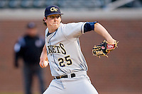 Starting pitcher Deck McGuire #25 of the Georgia Tech Yellow Jackets in action against the North Carolina Tar Heels at Boshamer Stadium March 26, 2010, in Chapel Hill, North Carolina.  Photo by Brian Westerholt / Four Seam Images