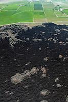 Lava field and farm land in Utah