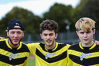 London, UK on Sunday 31st August, 2014. James Arthur (left) during the Soccer Six charity celebrity football tournament at Mile End Stadium, London.