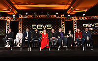 """PASADENA, CA - JANUARY 9: (L-R) Creator/Executive Producer/Writer/Director Alex Garland, cast members Sonoya Mizuno, Nick Offerman, Jin Ha, Alison Pill, Zach Grenier, Stephen McKinley Henderson, Cailee Spaeny, Karl Glusman, and Executive Producer Allon Reich attend the panel for """"Devs"""" during the FX Networks presentation at the 2020 TCA Winter Press Tour at the Langham Huntington on January 9, 2020 in Pasadena, California. (Photo by Frank Micelotta/FX Networks/PictureGroup)"""