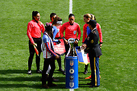 Harrison, NJ - Sunday March 04, 2018: Coin TossReferees, Alex Morgan, Amanine Henry, Waites, Lucila Venegas, Enedina Caudillo, Karen Diaz, Tatiana Montes during a 2018 SheBelieves Cup match match between the women's national teams of the United States (USA) and France (FRA) at Red Bull Arena.