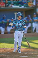 Andy Pages (18) of the Ogden Raptors at bat against the Rocky Mountain Vibes at Lindquist Field on July 5, 2019 in Ogden, Utah. The Raptors defeated the Vibes 6-4. (Stephen Smith/Four Seam Images)