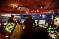 Pilots on Silja Festival's bridge at night.