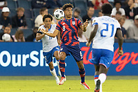 KANSAS CITY, KS - JULY 11: Nicholas Gioacchini #8 of the United States traps the ball during a game between Haiti and USMNT at Children's Mercy Park on July 11, 2021 in Kansas City, Kansas.