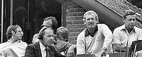 1982, Hilversum, Dutch Open,The press roof with: Willem Duys Jack van der Voorn and Pim Holthuis