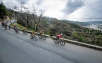peloton descending with Kasper Asgreen (DEN/Deceuninck - QuickStep) in front<br /> <br /> 7th La Course by Tour de France 2020 <br /> 1 day race from Nice to Nice (96km)<br /> <br /> ©kramon