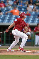 Clearwater Threshers outfielder Dylan Cozens (23) hits a ground rule double during a game against the Tampa Yankees on April 21, 2015 at Bright House Field in Clearwater, Florida.  Clearwater defeated Tampa 3-0.  (Mike Janes/Four Seam Images)