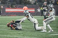 FOXBOROUGH, MA - NOVEMBER 24: Dallas Cowboys Linebacker Jaylon Smith #54 tackles New England Patriots Wide Receiver Julian Edelman #11 during a game between Dallas Cowboys and New England Patriots at Gillettes on November 24, 2019 in Foxborough, Massachusetts.
