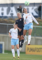 Lori Lindsey (6) of the Washington Freedom is beaten to a high ball by Carli Lloyd (10) of the Chicago Red Stars during a WPS match at Maryland Soccerplex on April 11 2009, in Boyd's, Maryland.  The game ended in a 1-1 tie.