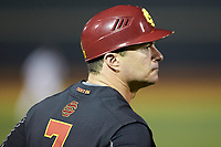 USC Trojans Assistant Coach Gabe Alvarez (7) ciaches third base during the game against the Wake Forest Demon Deacons at David F. Couch Ballpark on February 24, 2017 in  Winston-Salem, North Carolina.  The Demon Deacons defeated the Trojans 15-5.  (Brian Westerholt/Four Seam Images)