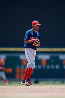 GCL Red Sox shortstop Ceddanne Rafaela (5) during a Gulf Coast League game against the GCL Orioles on July 29, 2019 at Ed Smith Stadium in Sarasota, Florida.  GCL Red Sox defeated the GCL Pirates 9-1.  (Mike Janes/Four Seam Images)