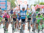 Race leader Mark Cavendish (GBR) Etixx-Quick Step wins Stage 2 of the 2015 Presidential Tour of Turkey running 182km from Alanya to Antalya. 27th April 2015.<br /> Photo: Tour of Turkey/Brian Hodes/www.newsfile.ie
