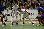 GER - Muelheim an der Ruhr, Germany, February 05: During the FinalFour final men hockey match between Rot-Weiss Koeln (whize) and Mannheimer HC (blue) on February 5, 2017 at innogy Sporthalle in Muelheim an der Ruhr, Germany. (Photo by Dirk Markgraf / www.265-images.com) *** Local caption *** Marcel Meurer #20 of Rot-Weiss Koeln