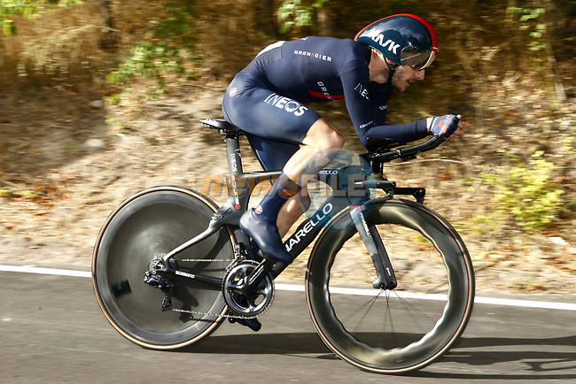 Adam Yates (GBR) Ineos Grenadiers in action during Stage 1 of La Vuelta d'Espana 2021, a 7.1km individual time trial around Burgos, Spain. 14th August 2021.    <br /> Picture: Luis Angel Gomez/Photogomezsport | Cyclefile<br /> <br /> All photos usage must carry mandatory copyright credit (© Cyclefile | Luis Angel Gomez/Photogomezsport)