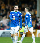 Motherwell v St Johnstone…20.10.18…   Fir Park    SPFL<br />A smile for Drey Wright after his shot is pushed around the post by Trevor Carson<br />Picture by Graeme Hart. <br />Copyright Perthshire Picture Agency<br />Tel: 01738 623350  Mobile: 07990 594431