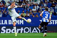 22nd September 2021: RCDE Stadium, Barcelona, Spain: La Liga Football, Espanyol versus Atletico Madrid; <br /> John Guidetti of Deportivo Alaves clears past Pedrosa