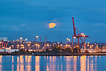Container Shipping Terminal, Elliott Bay, Seattle, Washington, USA with ship, containers, large cranes, in rare blue light of the full moon.