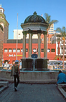 """San Diego: Horton Plaza Fountain. Irving Gill, 1910. """"After the Coregic Monument of Lysicrates, in Athens.""""  (Photo '81)"""