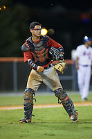Elizabethton Twins catcher Rainis Silva (20) on defense against the Kingsport Mets at Hunter Wright Stadium on July 9, 2015 in Kingsport, Tennessee.  The Twins defeated the Mets 9-7 in 11 innings. (Brian Westerholt/Four Seam Images)