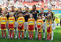 Fifa Women's World Cup Germany 2011 : Colombia - Sweden at Bayarena Leverkusen : colombiaanse ploeg tijdens het volkslied / hymne.foto DAVID CATRY / Vrouwenteam.be