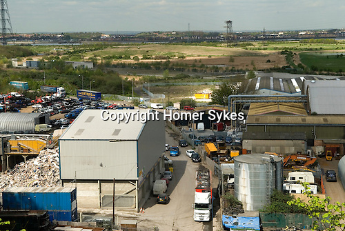 Swanscombe Peninsula Kent. Site of Paramount proposed massive theme park, area twice the size of the London Olympic Park. 2014. Looking north across River Thames to Tilbury Essex.